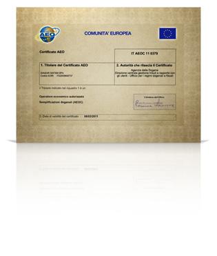 pergamena certificazione AEO